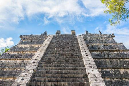 roo: Beautiful view of historic Mayan Building. Taveling through Quintana Roo.