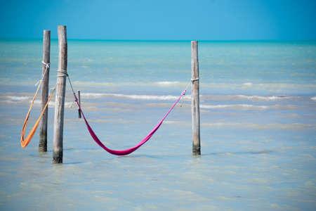 roo: Tropical sea of Holbox island near Cancun. Traveling Quintana Roo.