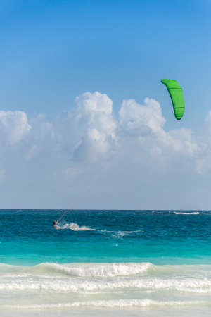 kite surfing: Action Sport at Mexico near Playa del Carmen and Cancun. Stock Photo
