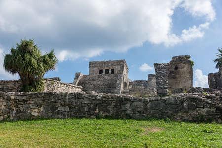 mayan riviera: Mayan Ruins Besides Caribbean Sea. Riviera Maya, Traveling America. Stock Photo