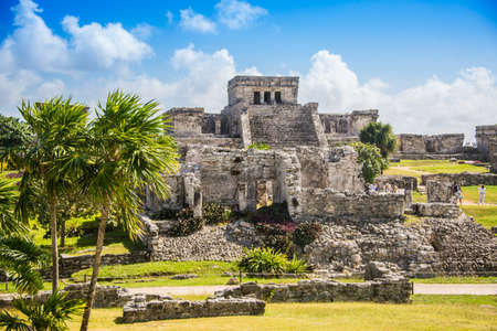 historical sites: Mayan Ruins Besides Caribbean Sea. Riviera Maya, Traveling America. Stock Photo