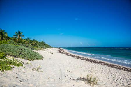 roo: Perfect beach near Tulum, traveling through Quintana Roo. Caribbean paradise. Stock Photo
