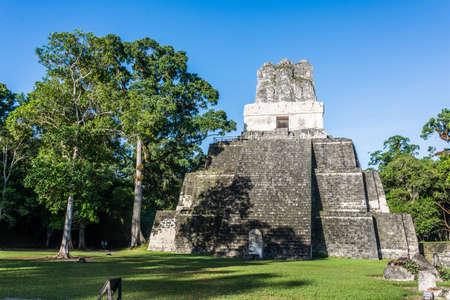 View of Mayan historic building at Tikal Jungle. Guatemala. Standard-Bild