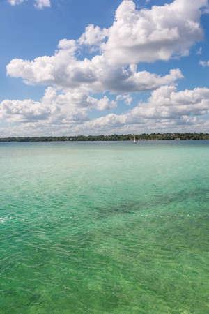 roo: Bacalar Lake at Riviera MAya, Quinatana Roo. Sailing Tour. Stock Photo
