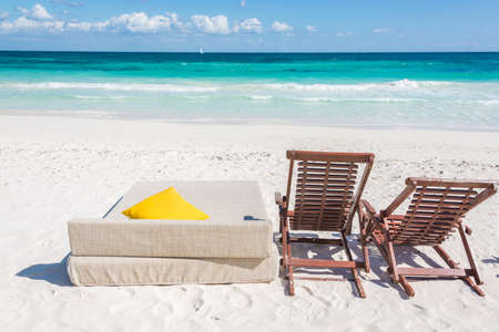Chill and relax at Tulum beach. Traveling through caribbean, Maxican coast. Stock Photo