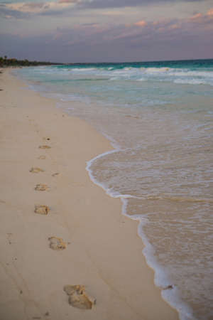 footstep: Traveling through Tulum, footstep perspective. Stock Photo