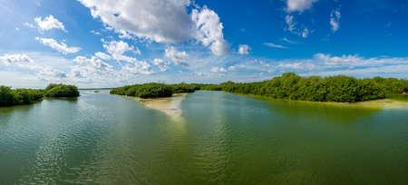 Lake and Mangroove panoramic view, traveling riviera Maya, Mexico adventure.
