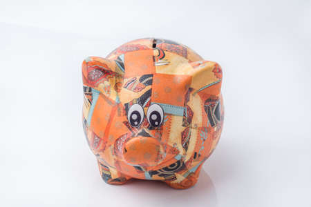 credit crunch: isolated Piggy for Saving Money white background. Stock Photo