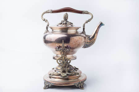 antique: Antique Silver Kettle. Isolated Item.