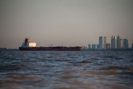 International Boat sailing Buenos Aires cityscape. South America.