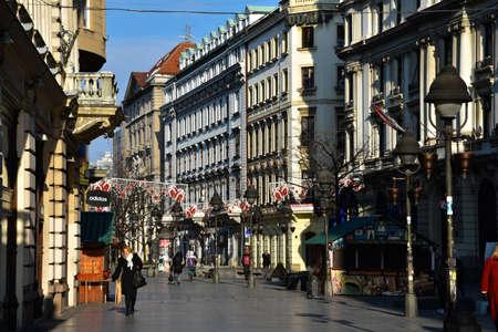 republika: Belgrade, Serbia. February 10, 2017. Prince Michael Street (Kneza Mihaila or Knez Mihailova). Very Important Pedestrian Street in Belgrade