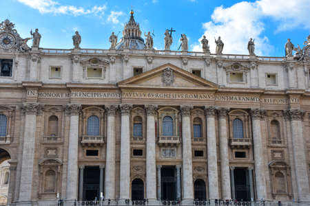 Vatican City. February 11, 2017. Main facade and dome of St. Peters Basilica. (Basilica di San Pietro) Editorial