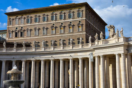 Vatican City. February 11, 2017. St. Peters Square colonnades and fountain (Piazza San Pietro)