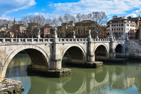 Rome, Italy. February 11, 2017. Sant Angelo Bridge (Ponte Sant Angelo) Editorial