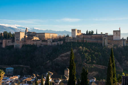 View of the Alhambra from San Nicolas viewpoint (Mirador de San Nicolas). Granada, Spain