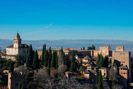 View of the Alhambra from Generalife Gardens. Granada, Spain