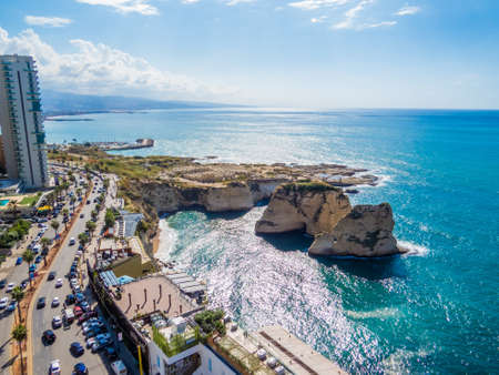 Aerial view of the Pigeons' Rocks on Raouche. In Beirut, Lebanon