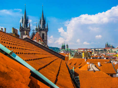Summer aerial view of the old town in Prague, Czech Republic