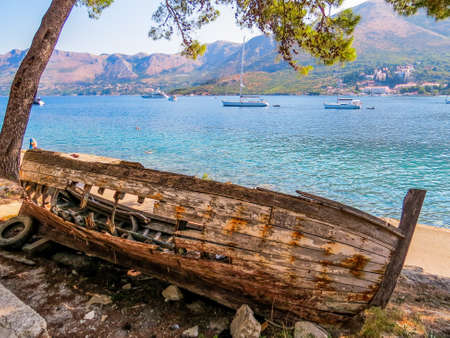 Abandoned wooden boat in Cavtat, Croatia