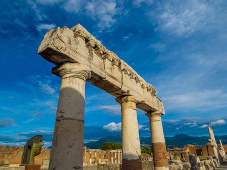 Pompeii, Italy - View of the ruins in the archaeological site of Pompeii, the ancient Roman city, destroyed in 79 BC by the eruption of Mount Vesuvius.