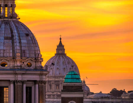 Amazing sunset in Rome, Italy. View from the top of the Spanish Steps. Archivio Fotografico