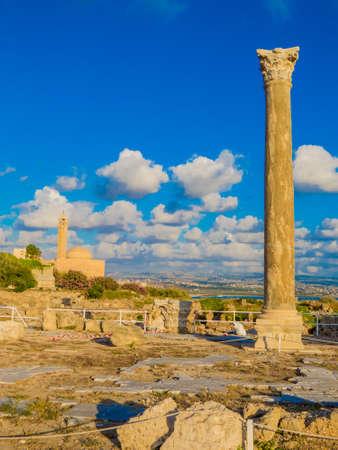 Ancient Roman ruins in Tyre, Lebanon Imagens
