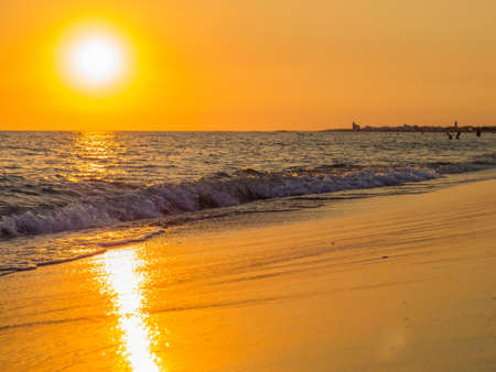Golden Sunset in Ugento, Italy Stock Photo