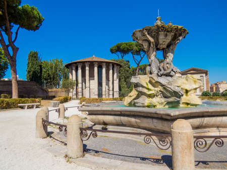 Temple of Hercules Victor and the Fountain of the Tritons in Rome, Italy