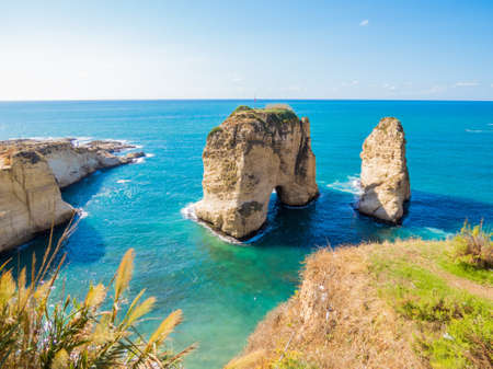 Raouche, Pigeons' Rock. In Beirut, Lebanon Banque d'images