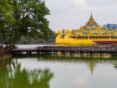 Kandawgyi Lake with the Karaweik Palace in the background. In Yangon, Myanmar