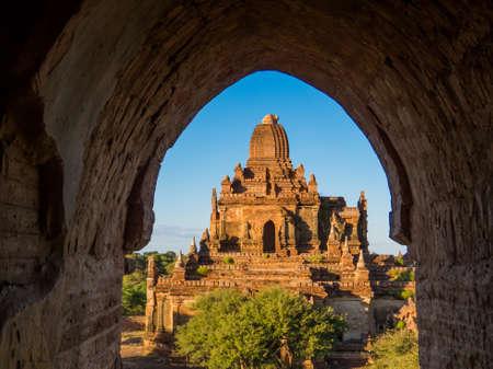 Myauk Guni Temple as seen from inside the Taung Guni Temple. In Bagan, Myanmar