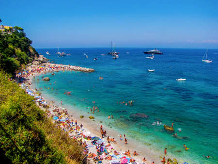CAPRI, ITALY - AUGUST 17, 2011 - Aerial view of Marina Grande Beach.