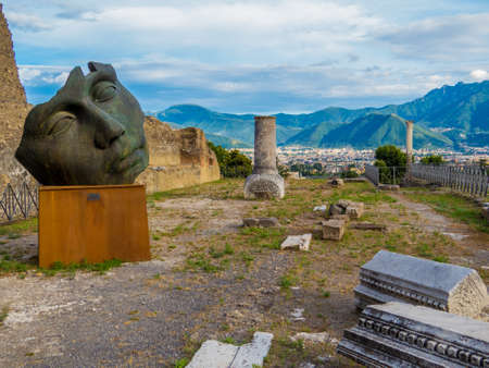 Sculpture by the Polish sculptor Igor Mitoraj on display at Pompeii archaeological site, Campania, Italy