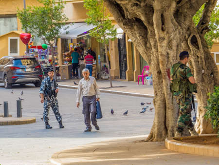 BEIRUT, LEBANON - MAY 22, 2017: Armed soldiers in the old town.