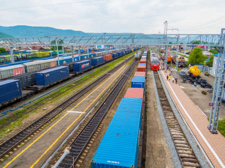 SLYUDYANKA, RUSSIA - JUNE 14, 2018: View of the railway station, the starting point of the Circum-Baikal Railway, going around the Baikal Lake.