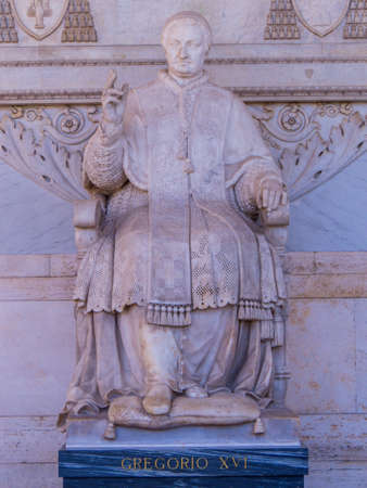 Statue of Pope Gregory XVI in the Basilica of Saint Paul Outside the Walls. In Rome, Italy Stock Photo