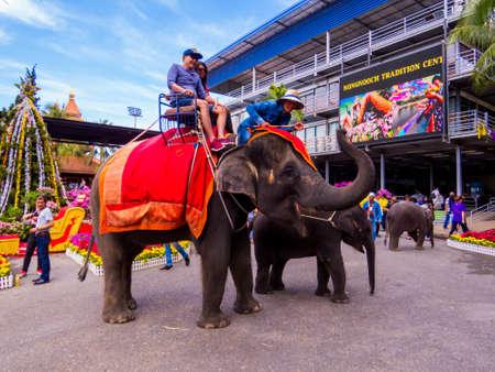 PATTAYA, THAILAND - JANUARY 2, 2019: Elephants in the Nongnooch (or Nong Nooch) Tropical Garden.