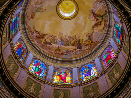 View of the ceiling of the dome of the Sanctuary of Tindari with the representation of the twelve apostles. In Tindari, Sicily, Italy Editorial