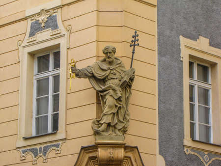 Prague, Czech Republic - August 8, 2011: View of the statue of Saint Peter holding the keys of heaven in the old town. 에디토리얼
