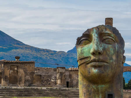 Sculpture by the Polish sculptor Igor Mitoraj on display at Pompeii archaeological site, Italy Editorial