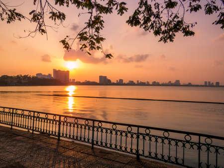 Sunset on the West Lake in Hanoi, Vietnam