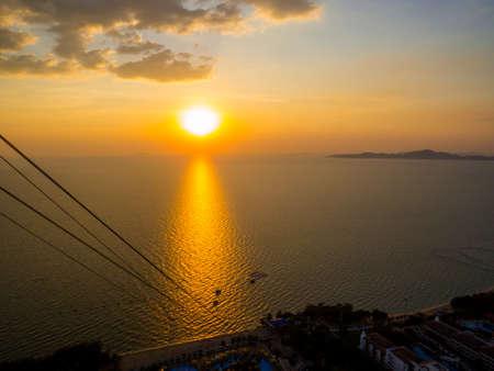 Amazing sunset aerial view of Pattaya, Thailand