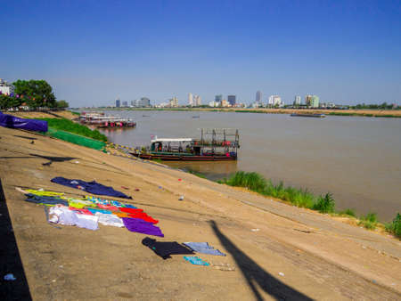 Phnom Penh, Cambodia - January 9, 2020: View of the Mekong River.