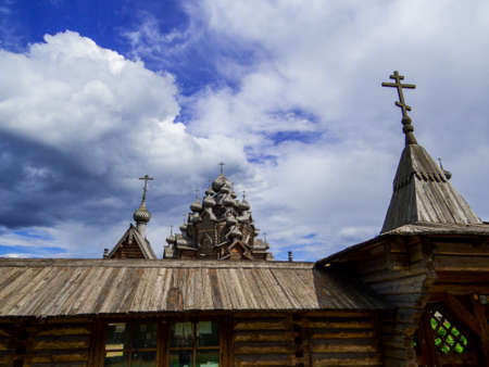 View of the wooden Church of the Intercession of the Holy Virgin in St. Petersburg, Russia Banque d'images