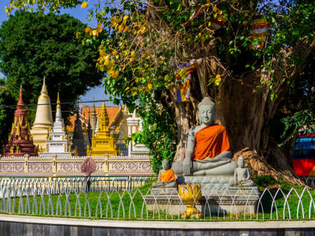 Phnom Penh, Cambodia - January 9, 2020: Buddha statue near the Botumvatey Pagoda (or Preah Vihear Wat Botum Vatey).