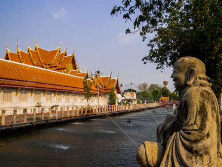 Bangkok, Thailand - January 16, 2020:  View of the Marble Temple (or Wat Benchamabophit Dusit Wanaram).