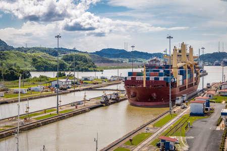 Ship crossing Panama Canal at Miraflores Locks - Panama City, Panama