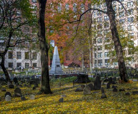 Granary Burying Ground cemetery - Boston, Massachusetts, USA Stock Photo