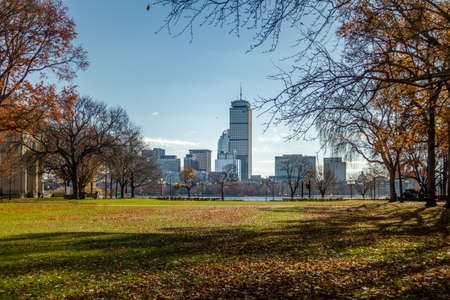 mit: Boston skyline and Charles River seen from MIT in Cambridge - Massachusetts, USA Stock Photo