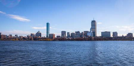 mit: Boston skyline and Charles River seen from Cambridge - Massachusetts, USA Stock Photo